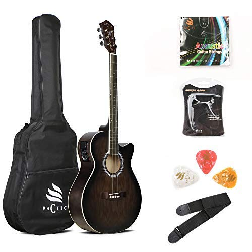 "ARCTIC Sky series 40"" Semi-Acoustic Guitar (with Truss Rod) with 4-Band EQ, Bag, 3 Picks, Strap, String Set & Capo"