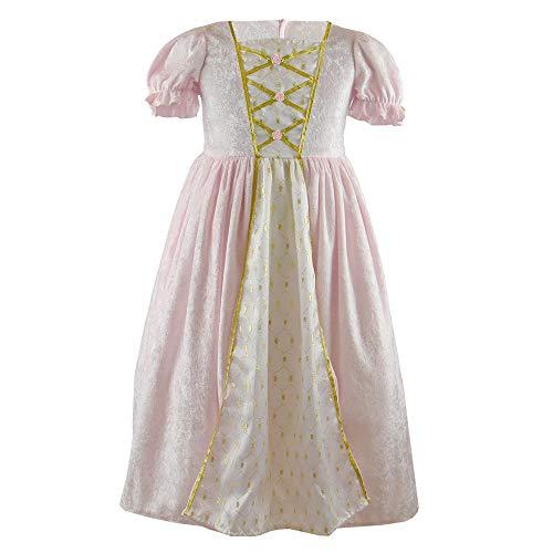 Den Goda Fen - F6524M - Vestido de princesa de terciopelo - 4-5 aos - Talla 110-116 - Rosa - Vestido de baile - Disfraz infantil de princesa.