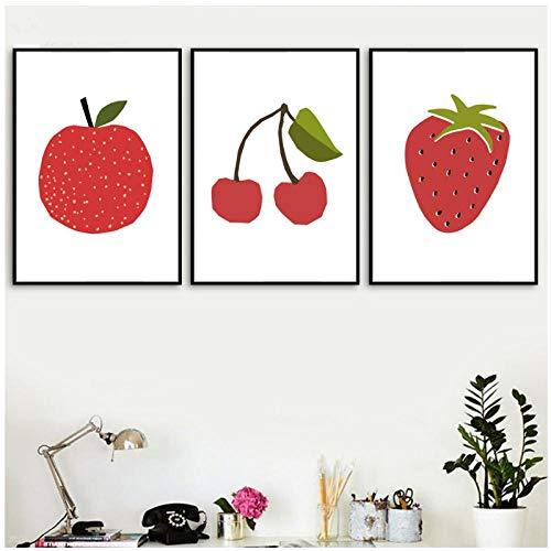 DLFALG Cartoon Red Cherry Strawberry appel muurkunst canvas schilderij Nordic poster en afdrukken wandafbeeldingen voor kinderkamer - 40 * 60 cm * 3 niet ingelijst