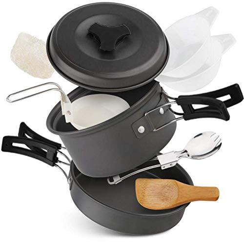 StyleBest - Batería de cocina de camping antiadherente con ollas y sartenes de camping, juego ultraligero con batería de camping para cocinar al aire libre para excursiones de mochila