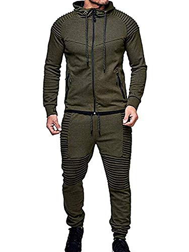 Winter Men's Solid Color Tracksuit Set Sweatshirt Jogger Sweatpants Casual Warm Sports Suit (Army Green, XXL)