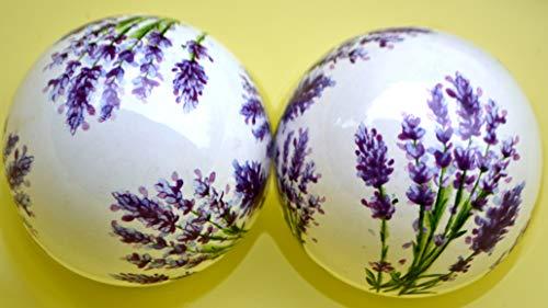 Maison en France Schwimmkugel 2 Stück, D= 8 cm-hübsche Dekokugeln mit Lavendelmotiv aus Keramik-stabile Ausführung - 2 St. in Einer Packung für Haus und Garten