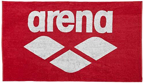Arena Toalla Unisex para Adultos, de algodón, Suave, Color Rojo y Blanco, 150 x 90 cm