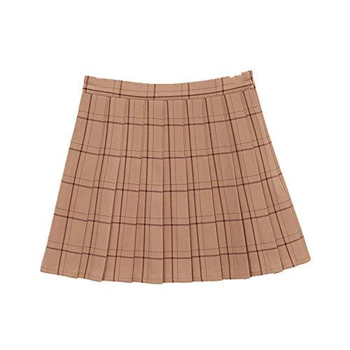N\P Falda plisada a cuadros de una línea de cintura alta falda de verano casual mujer falda a cuadros