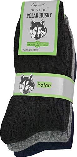 Polar Husky® 3 Paar Sehr warme Socken mit Vollplüsch und Schafwolle/Nie wieder kalte Füße! Farbe Vollfrottee/Schwarz-Grau-Blau Größe 39-42