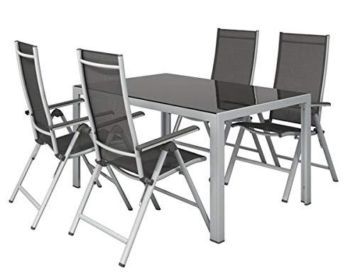 Florabest Gartenmöbel Set Alu Gartentisch mit 4 Klappsessel Klappstuhl Gartenstuhl aus Pulverbeschichteter Aluminium Leichtrahmen mit Stabiler Mechanik