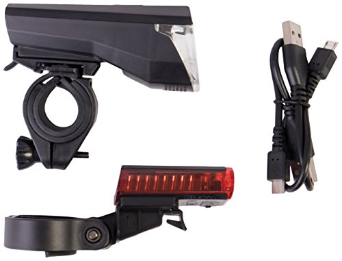 Gregster Alumbrado LED para bicicleta, juego de luces para bicicleta con luz frontal, trasera, cable de carga USB y soporte - luz blanca para una mejor visión