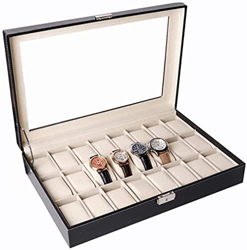 Caja de exhibición de reloj de madera Caja de joyería 24 ranuras organizador de reloj joyería caja de almacenamiento con tapa de cristal