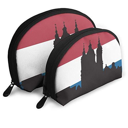 Silhouette van Amsterdam Travel Draagbare Cosmetische Tassen Organizer Set van 2 voor Vrouwen Tieners Meisjes