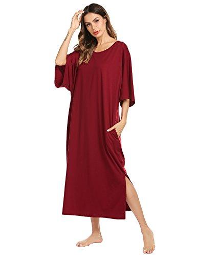 Ekouaer Womens V-Neck Cotton Nightgown Oversized Loose Fit Long Sleep Dress Purplish Red XX-Large