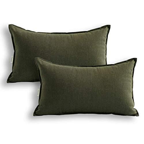 Jeanerlor - Funda de cojín decorativa de lino y algodón natural, 30 x 50 cm, 2 unidades, color verde oliva