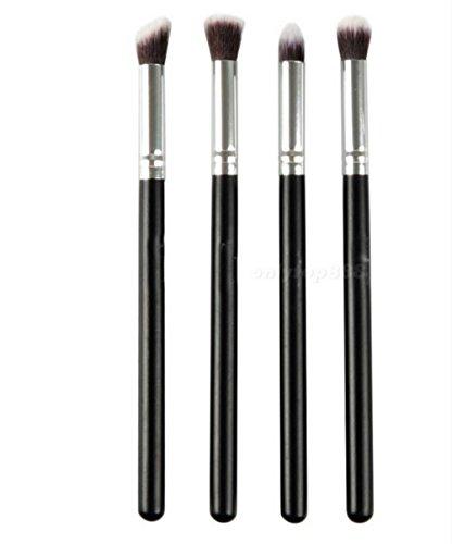 Monbedos Lot DE 4 pinceaux de Maquillage portatifs, Fibre, Argent + Noir, 4pcs
