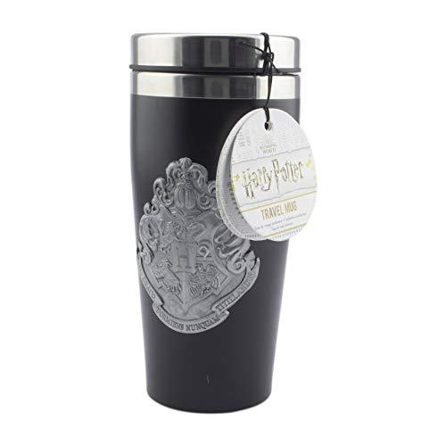 Paladone 5055964743697 Hogwarts - Taza de viaje con insignia de metal, fácil de limpiar, reutilizable, taza de café y té, aislamiento de doble pared, capacidad de 450 ml, acero inoxidable