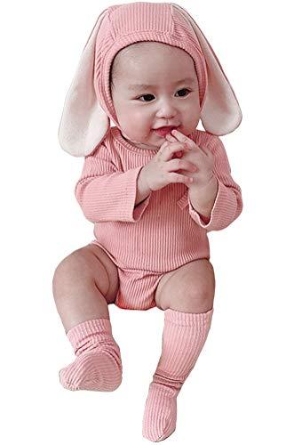 AGQT Mädchen Junge Ostern Outfit Hase Kurzarm Einteiliger Strampler Bodysuit mit Hut & Socken 3PC 12-18 Monate
