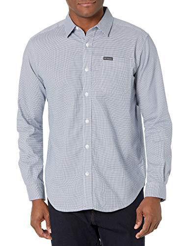 Columbia Camisa de Manga Larga Vapor Ridge III para Hombre, Rejilla de Pata de Gallo Night Tide, Small