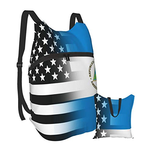 black and white USA Nicaragua flag Outdoor Foldable Travel Backpack Lightweight Hiking Backpack