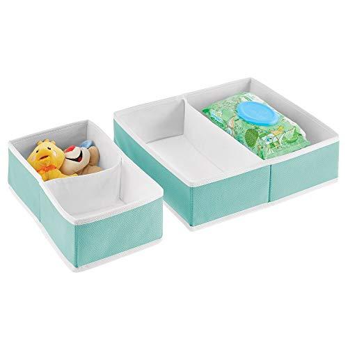 mDesign Cajas de almacenaje para cuarto infantil y ropa de bebé – Cesta organizadora plegable en 2 tamaños – Organizador de armarios de fibra sintética transpirable – Juego de 2 – turquesa y blanco