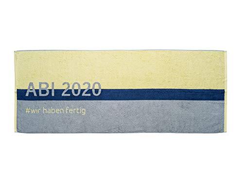 PRINZ ABI 2020 Strandtuch Abitur Geschenk 70x180 cm Baumwolle (Limone)