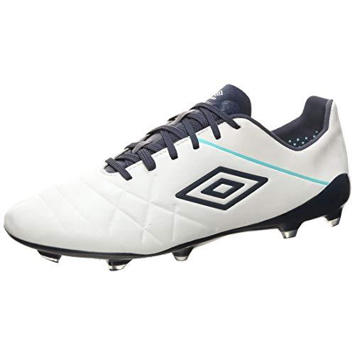 UMBRO Medusae III Pro FG - Botas de fútbol para hombre, blanco / azul, 8 UK - 42.5 EU - 9 US