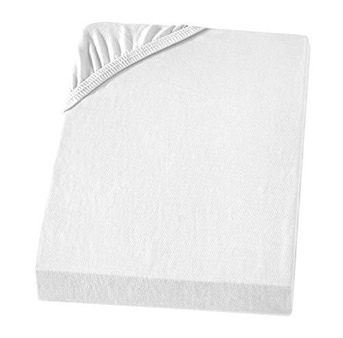 Carpe Sonno Atmungsaktives Jersey Bettlaken 90-100 x 200 cm für Wasserbett und Boxspringbett bis 50 cm Steghöhe weiß Jersey Betttuch 100% Baumwolle für höchsten Komfort und entspannte Nächte
