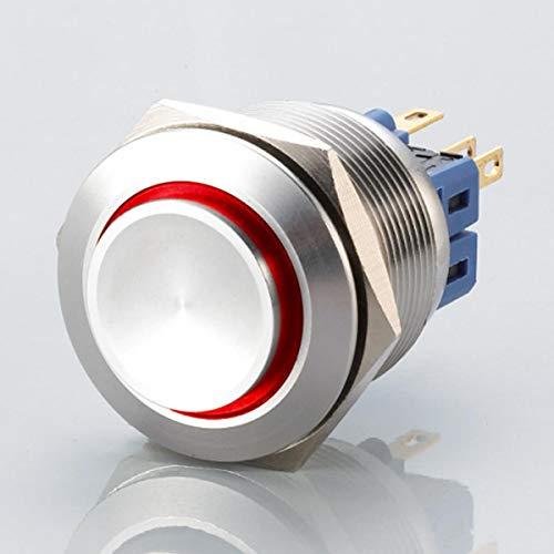 Hervorstehender LED Schalter - Durchmesser Ø 25 mm - aus V2A Edelstahl - staub - und wasserdicht nach IP67 Schutzstandard AC/DC - witterungsbeständig - Rot