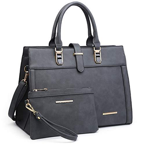 Women's Handbag Flap-over Belt Shoulder Bag Top Handle Tote Satchel Purse Work Bag w/Matching Wristlet (Grey)