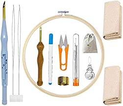 22 Pieces Punch Needle Embroidery Kits, Adjustable Rug Yarn Punch Needle Beginner DIY Starter Kit with Embroidery Hoops, Scissors Thimble Storage Bag and 2 pcs Monks Cloth