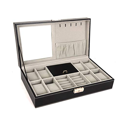 Cloudwalk PU Leather Men Valet Box Women Watch and Jewellery Storage Case for 8 Watches, Cufflinks and Rings with Mirror
