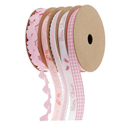 Confezione 5 Nastri Fiocchi Dentellare Materiale Decorativo Baby Shower Accessori Scrapbooking...