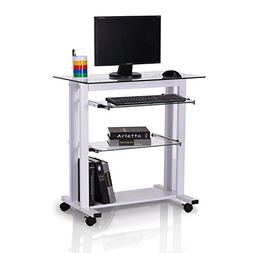 HOMCOM Mesa de Ordenador PC para Oficina Despacho Dormitorio Escuela Escritorio Estante 80x51x83cm Vidrio