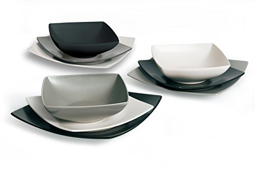 Excelsa Eclipse Servizio Piatti Quadrati 18 Pezzi, Ceramica, Bianco, Nero e Grigio
