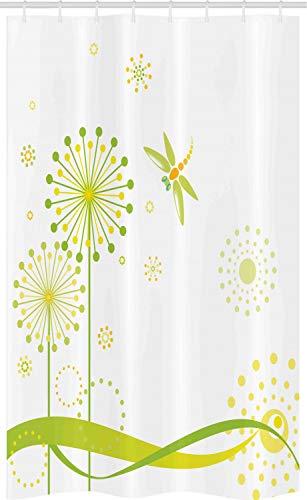 ABAKUHAUS Libel Douchegordijn, Spring Dandelion Art, voor Douchecabine Stoffen Badkamer Decoratie Set met Ophangringen, 120 x 180 cm, Kalk en Apple Green