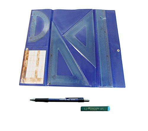 Serivan Pack Lote Estuche tecnic Juego Compuesto por Regla 30 cm, escuadra y cartabón de 25 cm + Portaminas Edding P12 + 1 Tubo de 12 Minas Faber Castell 0.7 mm HB