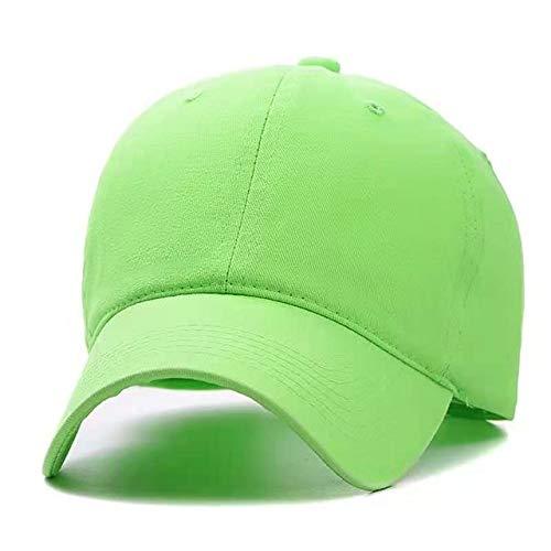 Nueva Gorra Unisex de Color Liso, Gorra de béisbol de algodón Lavada, Hombres, Mujeres, Casuales, Ajustables, al Aire Libre, Gorras Snapback para Camionero-Fluorescent Green-54cm-62cm