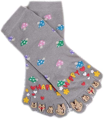 YYANG Mujeres Cute Five Fingers Toe Socks Colorido Setas Dibujos Animados Gato Imprimir Hosiery Black (Color : Gray)