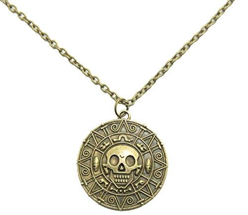 Collar con medalln inspirado en la pelcula Piratas del Caribe, motivo de calavera con estilo azteca, color latn envejecido