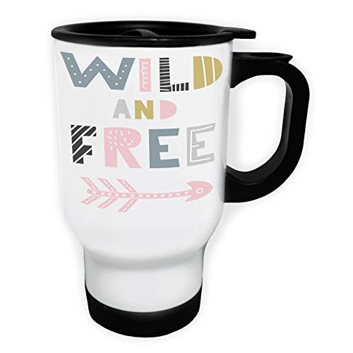 Wild And Free With An Arrow Tasse de voyage thermique blanche 14oz 400ml ff330tw