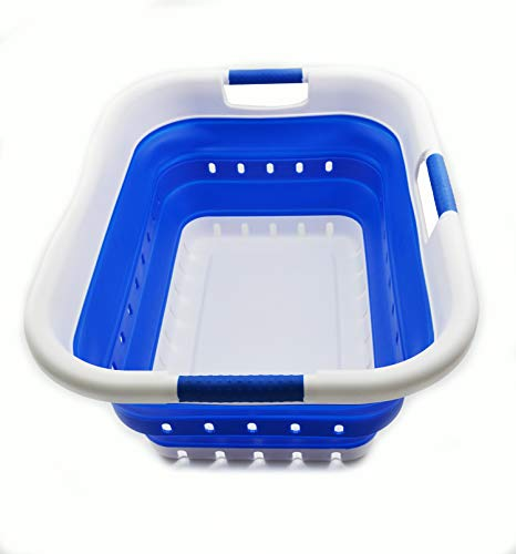 SAMMART Collapsible 3 Handled Plastic Laundry Basket - Foldable Pop Up Storage ContainerOrganizer - Portable Washing Tub - Space Saving HamperBasket 3 handled rectangular Dark Blue