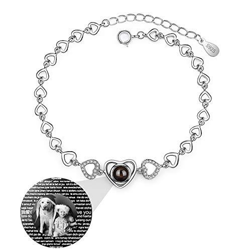 Personalisiertes Armband Projektion Armband Foto Armband Herz Armband 925 Silber Armband 100 Sprachen Armband Jubiläum Thanksgiving für Frauen(Silber Schwarz und Weiß 15,5+4 CM/6,1+1,57 IN)