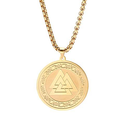 TUDUDU Llave de Salomón Collar de Amuleto Arcángeles Raphael Chapado en Oro Talismán Collar de ángel Longitud 60 Cm