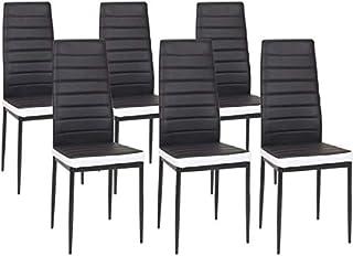 IZTOSS Lot de 6 chaises Romane Noires Bandeau Blanc pour Salle à Manger - livré en 2 à 4 Jours - France