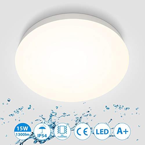Oeegoo 15W LED Deckenleuchte, IP54 Wasserfest Badlampe, 4000K Deckenlampe, 1300lm Lampen Ideal für Badezimmer Wohnzimmer Küche Balkon Flur, Neutralweiß Badezimmerlampe Ø22cm