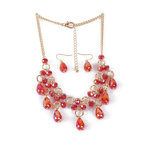 YAZILIND Moda joyería Conjunto de lágrimas Colgante Collar de Gancho de Pescado Pendientes señoras Boda Fiesta joyería Regalo (Rojo)