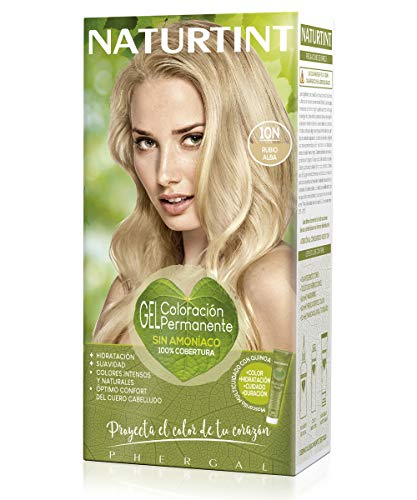 Naturtint | Coloración sin amoniaco | 100% cobertura de canas | Ingredientes vegetales | Color natural y duradero | 10N Rubio Alba | 170ml