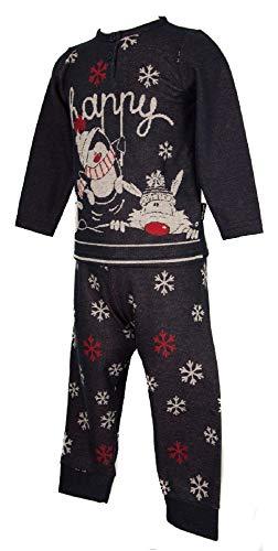Happy People Pigiama Bimba Bambina Manica Lunga Collo Serafino Sleepwear Articolo 4793 Fiocco di Neve