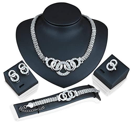 OUHUI Pendientes Vintage Colgante Collar Elegante Pendientes de Botón Pulsera Anillo Conjunto de Joyas para Mujer Brillante Brillante Retro / # 2