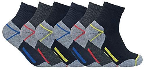 Sock Snob 3, 6, 12 paires homme chaussettes courtes basses respirantes travail avec renforcées pour chaussures sécurité (39-45 eur, 6 pairs (short))