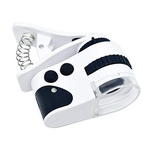 Handy-Clip-Vergrößerungsglas, USB-Aufladungs-LED-Mikroskop, tragbares 50X-Vergrößerungsglas, mit LED-UV-Lampe, zur Identifizierung von Schmuck, Überprüfung der Banknoten, Lesen, ältere Menschen