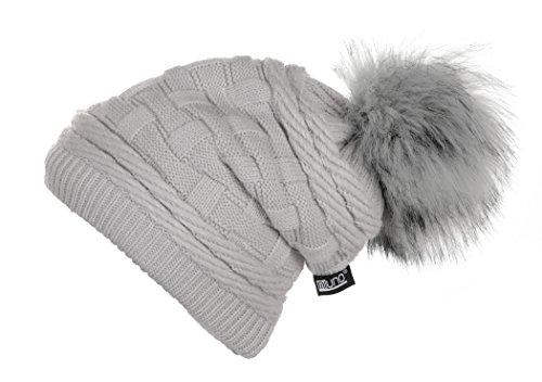 Miuno Berretto invernale in pelliccia sintetica con pon pon, con fodera in orsacchiotto MJ166 grigio. Taglia unica