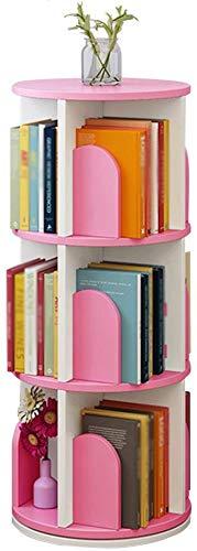 YZ Libreria a file per bambini Colorato Ruota multifunzione quadrato, libreria rotonda di grande capacità da terra, 3 colori,Rosa,A46 * 46 * 96 cm